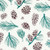 Gift Wrap - Pinecones - Cream/Brown and Green Metallic