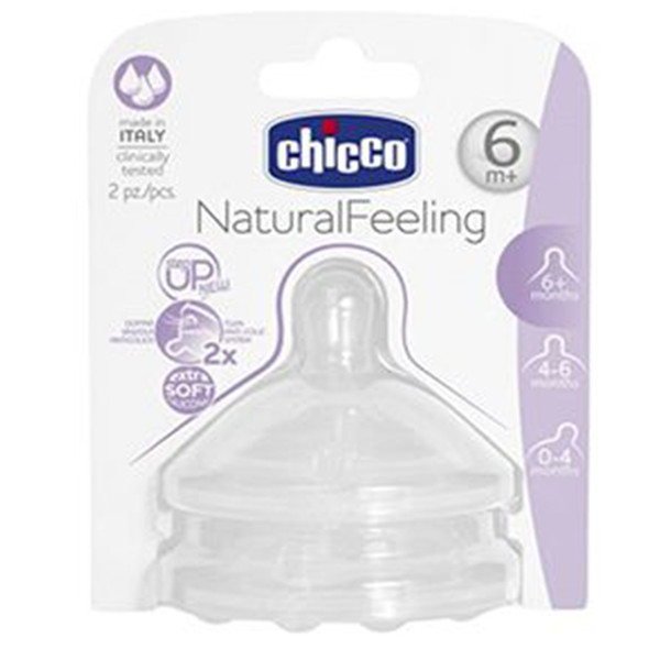 CHICCO TEAT NATURAL FEELING 6M+ FAST FLOW 2 PCS