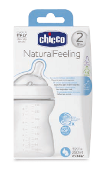 CHICCO NATURAL FEELING BOTTLE 2M+ 250ML REG FLOW (INCLINED TEAT)