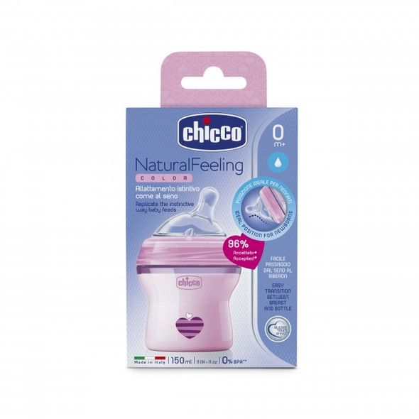 CHICCO NATURALFEELING BOTTLE 0M+150ML (PINK)