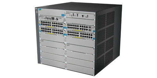 12-slot modular switch chassis with 4 open module slots; ships with 92 10/100/1000 PoE+ and 2 SFP+ 10-GbE ports;