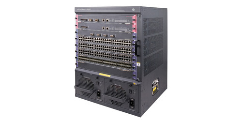 The HP 7506 Switch is an 8-slot horizontal chassis, 13U, with 6 I/O and 2 fabric slots.
