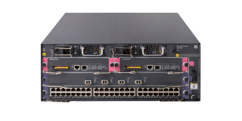 The HP 7502 Switch is a 4-slot horizontal chassis, 4U, with 2 I/O and 2 half-sized management slots.