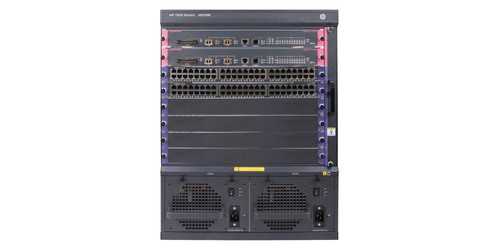 Bundle with one HP 7506 Switch, two 48-port Gig-T PoE+ modules, and one 384Gbps MPU with 2 XFP ports.