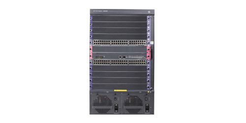 Bundle with one HP 7510 Switch, two 48-port Gig-T PoE+ modules, and one 768Gbps MPU.