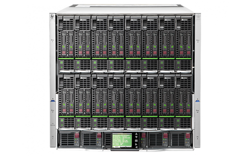 The HP Blade System c7000 Enclosure comes with a 1-Year warranty. The c7000 blade enclosure can hold up to sixteen half height blades.  Please note blades are NOT included. Please call for availability of KVM switch options.