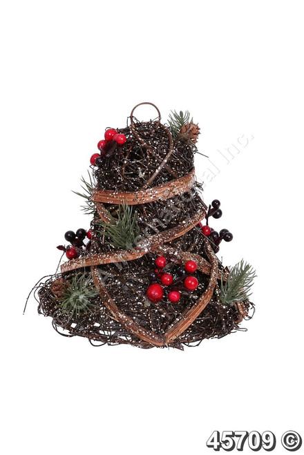 """[45709] 7""""rattan glittered bell w/berries"""