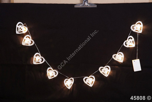 "[45808] 71""white metal hearts garland w/led lights (AA x3)"