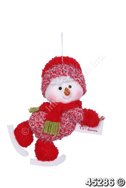 "[45286] 11""skiing snowman boy orn w/envelope"