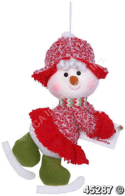 "[45287] 11""skiing snowman girl orn w/envelope"