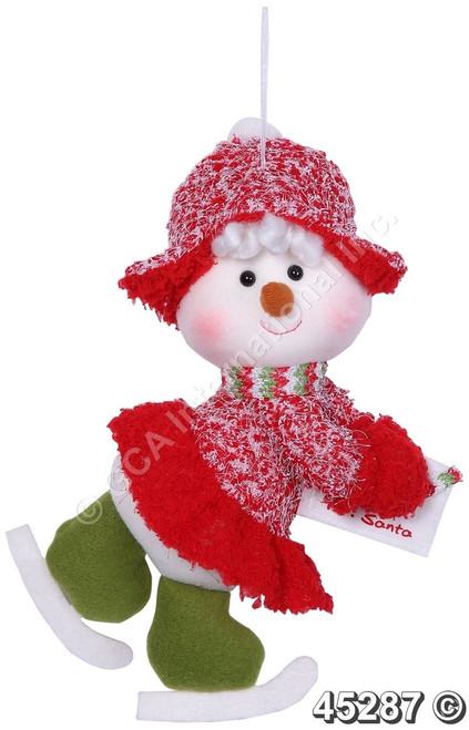 "[45287] 11""skiing snowman girl orn w/envelope"