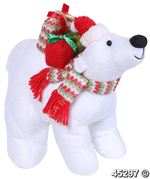 "[45297] 11x9""white bear carrying gifts"