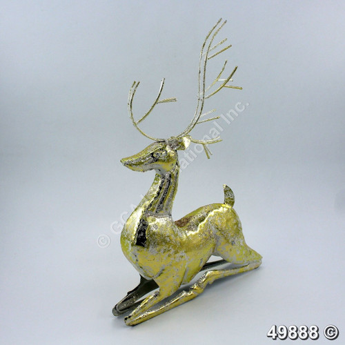 """[49888] 15.8""""metal reindeer with champagne gold foil"""