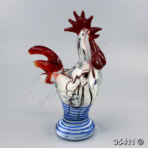 "[35411] 12"" glass rooster"