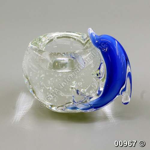 "[00967] 4.75"" glass candle holder with dolphin"
