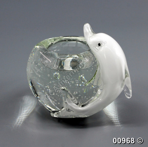 "[00968] 4.75"" glass candle holder with dolphin"