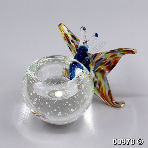 "[00970] 5"" glass candle holder with butterfly"