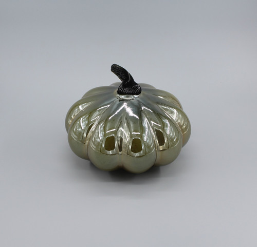 "[48575] 8""x6.5"" metallic glass pumpkin"