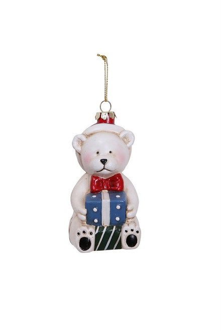 "Ship ASAP [43717] 2""x2""x4.4""plastic bear w/blue gift ornament"