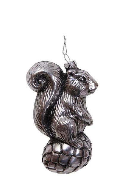"""Ship ASAP [43745] 2""""x3""""x4.9""""plastic silver squirrel ornament"""