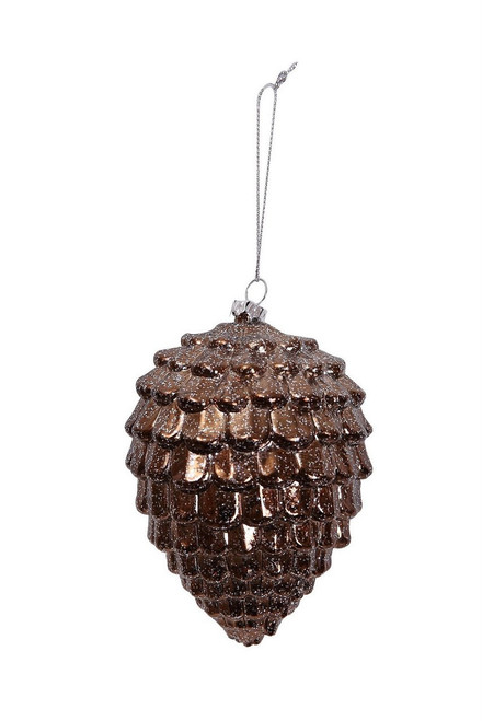 "Ship ASAP [43771] 3""x3""x4.5""plastic bronze pine cone ornament"