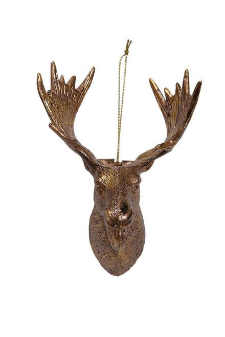 "Ship ASAP [43861] 3""x3""x4.8""plastic gold moose head ornament"