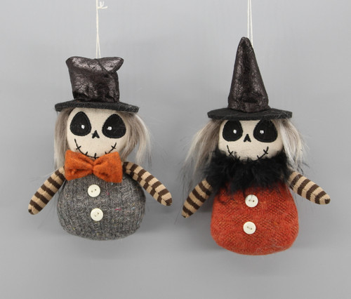 "[52828] 5"" Halloween ghost ornaments set/2"