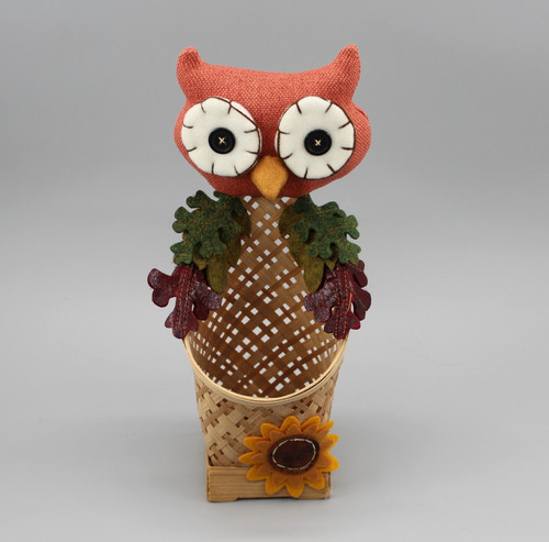 "[52884] 11""Harvest owl basket"