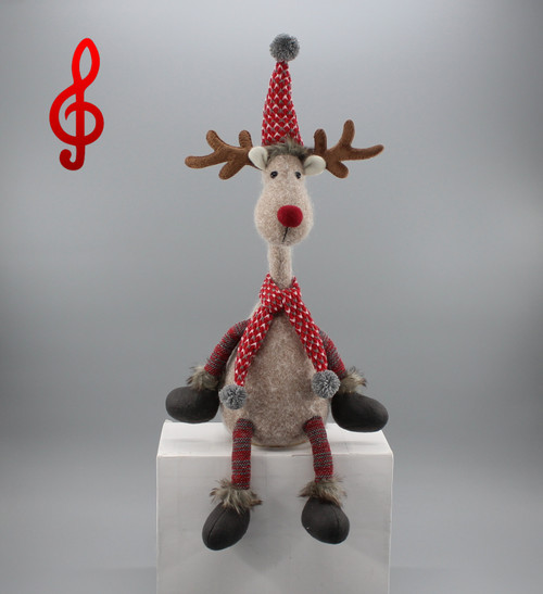 "[52910] 15""Sound control singing and turning reindeer"