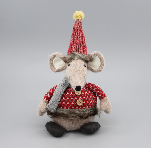 "[52919] 9""Sitting Christmas mouse"