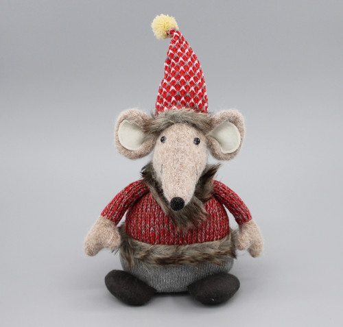 "[52920] 9""Sitting Christmas mouse"