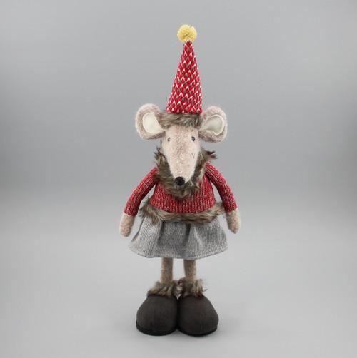 """[52922] 15""""Standing Christmas mouse girl"""