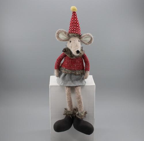 """[52924] 17""""Sitting Christmas mouse girl"""