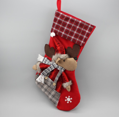 "[52941] 17""Christmas stocking with moose boy"