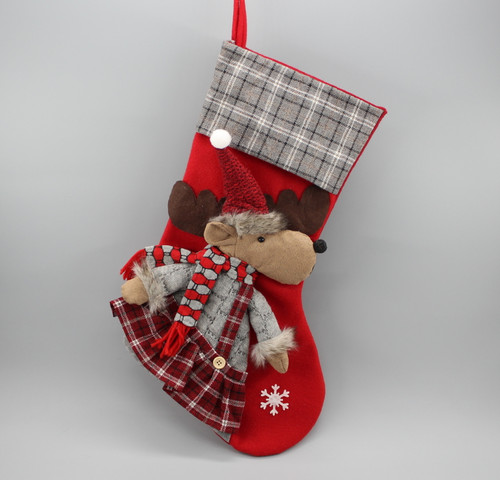 """[52942] 17""""Christmas stocking with moose girl"""