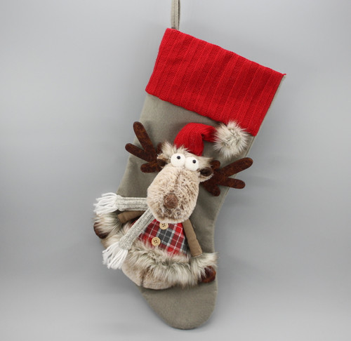 """[52976] 18""""Christmas stocking with moose (red hat)"""