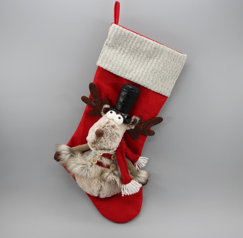 """[52977] 18""""Christmas stocking with moose (black hat)"""