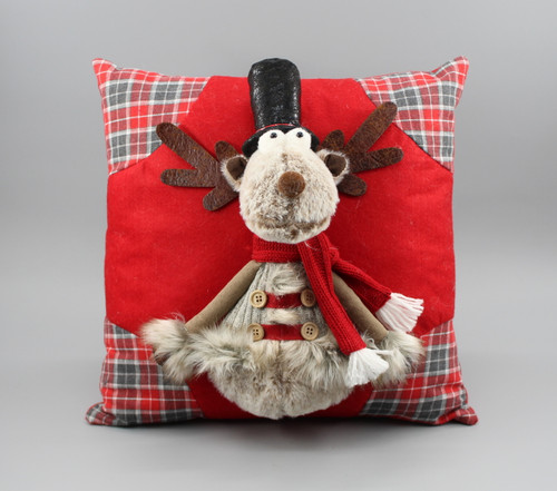 "[52979] 13.75""Christmas pillow with moose"