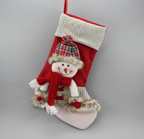 """[52985] 18""""Christmas stocking with snowman"""