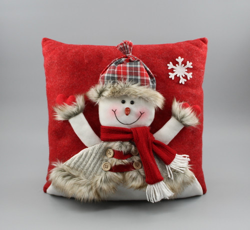"[52989] 14""Christmas pillow with snowman"