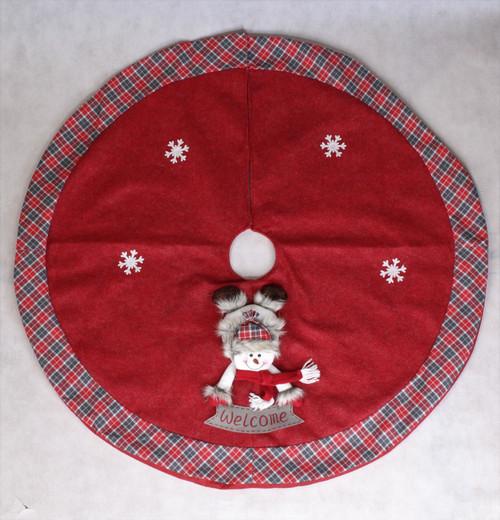 "[52993] 42""Christmas tree skirt with snowman"
