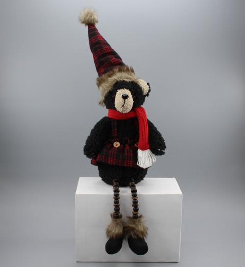 "[53004] 19""Sitting Christmas black bear"