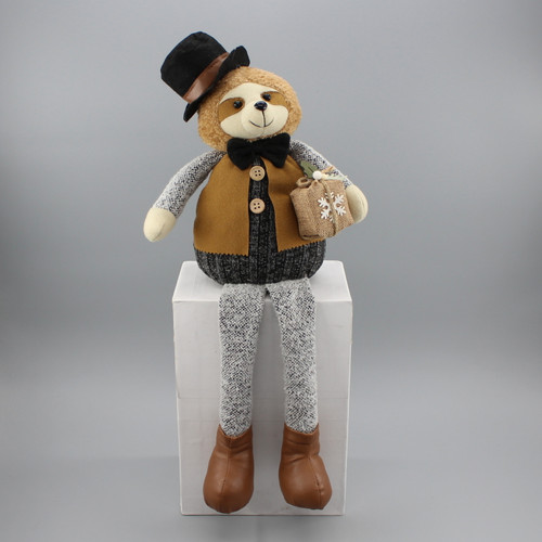 "[53061] 19""Sitting Christmas sloth holding gift box"