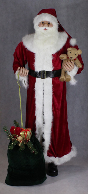 "[53165] 72""Standng Santa holding teddy bear and gift bag"