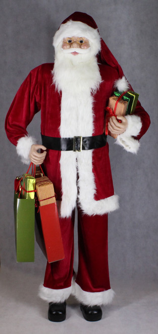 "[53166] 72""Standng Santa holding gifts and shopping bag"