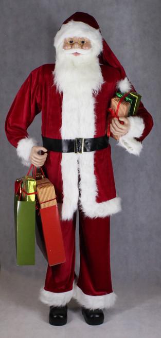 "[53166] 72""Standng Santa holding gifts and shopping bag"