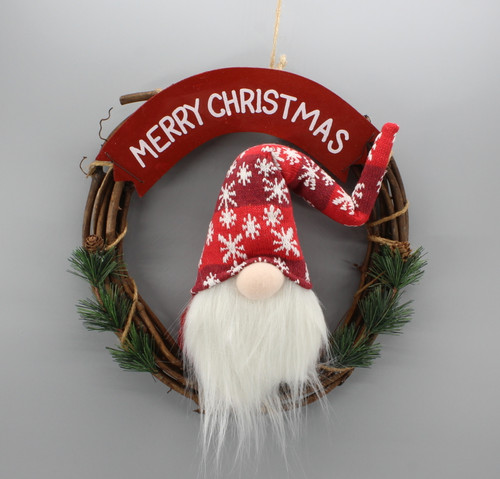 "[53183] 13"" Wreath with gnome (red hat)"