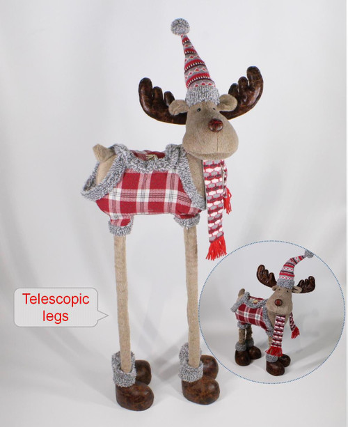 "[53005] 41""Christmas moose with telescopic legs"