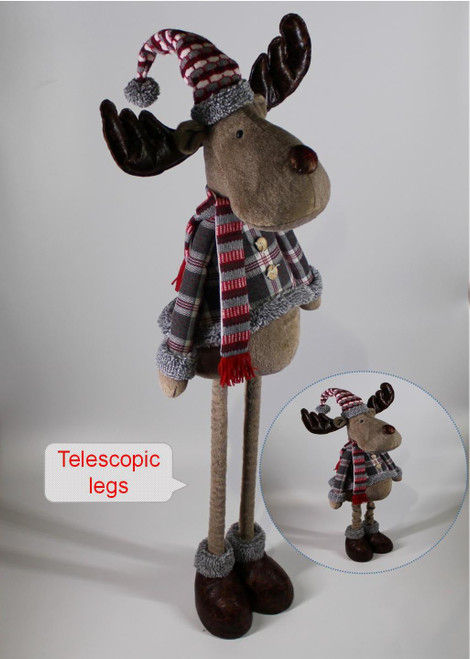 """[53006] 51""""Christmas standing moose boy with telescopic legs"""