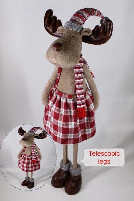 """[53007] 51""""Christmas standing moose boy with telescopic legs"""